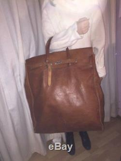 Vintage très grand sac voyage havresac steamer cuir TB patine h 62cm l 48cm