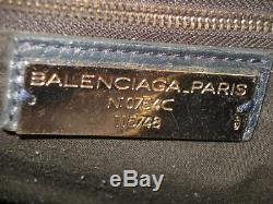 Vintagebeau Sac Bandouliere+2 Poignees Cuir Gris/bleu Balenciaga Classic