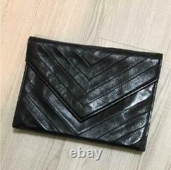 Ysl Yves Saint Laurent Authentique Pochette Sac Deuxième Sac Cuir Vintage Noir